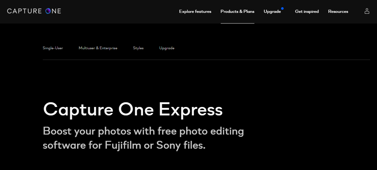 Capture One Express landing page