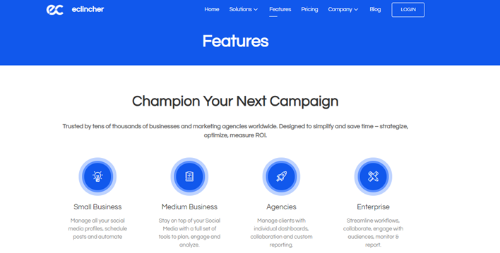 eClincher landing page