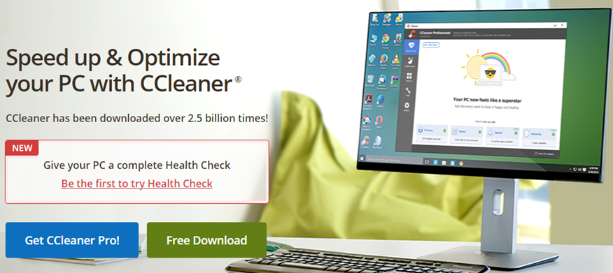 CCleaner landing page