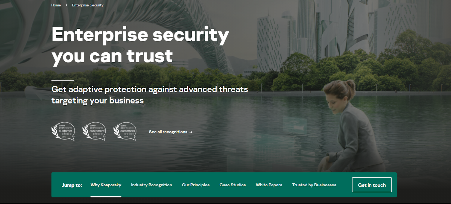 Kaspersky enterprise homepage