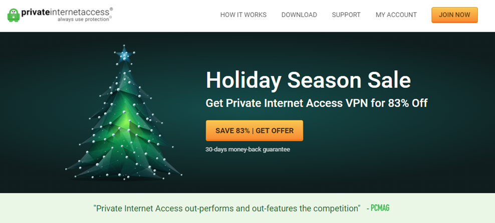 Private Internet Access landing page