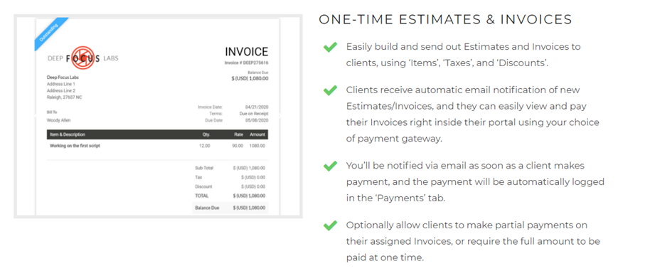 SuiteDash invoices and billing