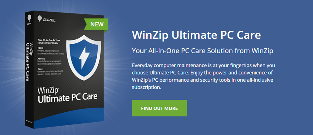 WinZip System tools landing page