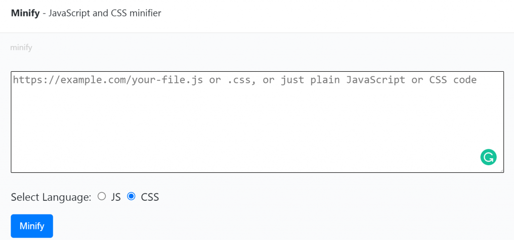JavaScript and CSS minifier website