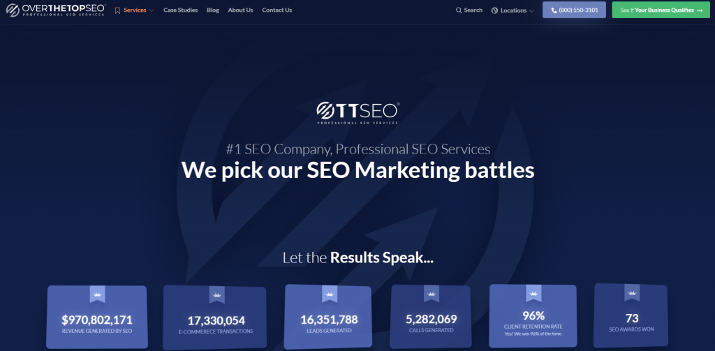 Over The Top SEO homepage